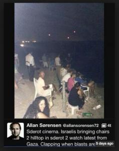 Israelis watching bombing of Gaza.