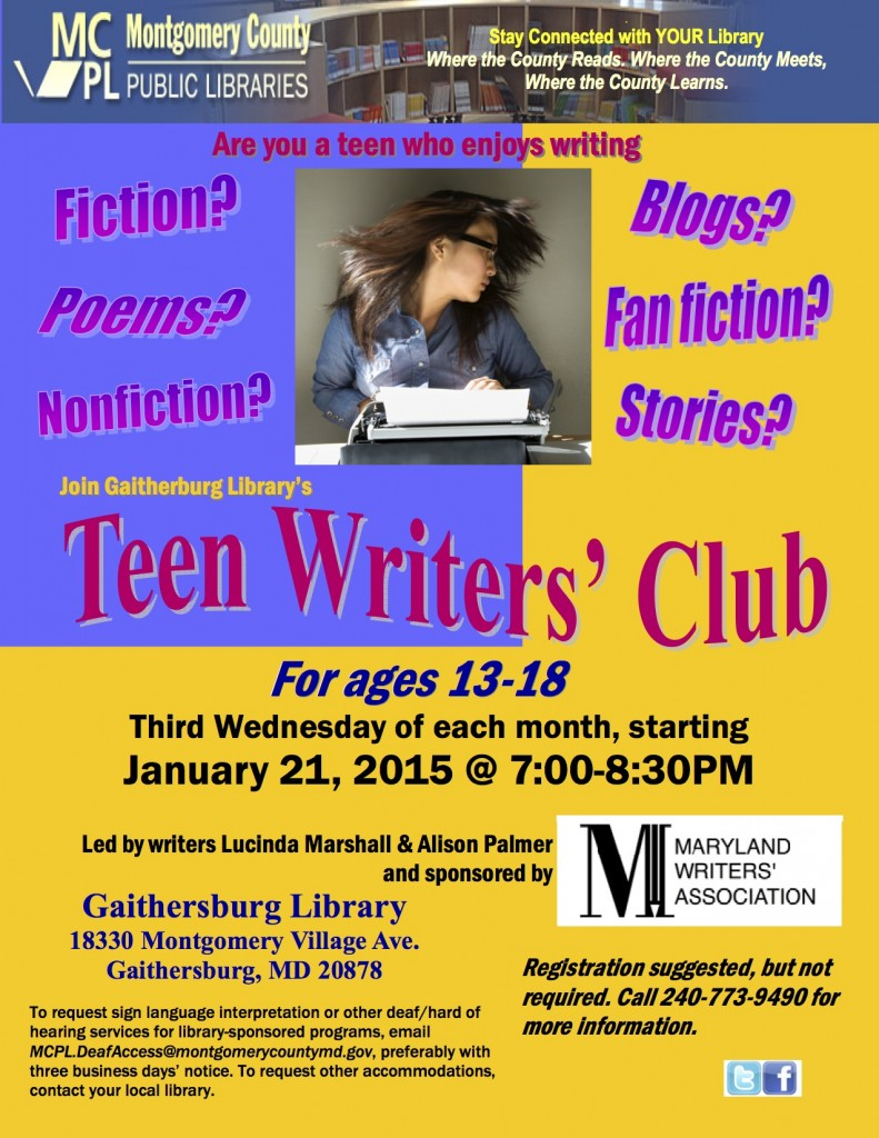 Teen Writers Full Page Flyer